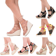 NEW WOMENS WEDGES LADIES HEEL PLATFORM ANKLE STRAP SANDAL SHOES UK SIZE 3-8