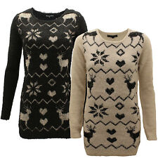 Womens Ladies Crew Neck Christmas Long Reindeer Mohair Tunic Knit Top Jumper