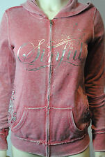 NWT SINFUL BY AFFLICTION L/S 'wild west' ZIP HOODIE SWEATSHIRT red burnout XS