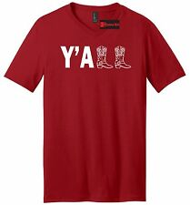 Yall Mens V-Neck T Shirt Cute Country Western Tee Cowboy Boots Redneck Gift