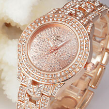 Fashion Womens Roman Numerals Crystal Rhinestone Analog Quartz Dress Wrist Watch