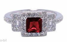 White Gold Princess Cut Promise Engagement Wedding Garnet Red w Clear CZ Ring