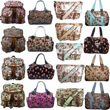 Ladies Owl Oilcloth Satchel Women Backpack Travel Weekend Shoulder Hand Day Bag