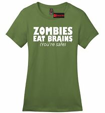 Zombies Eat Brains Youre Safe Funny Soft Ladies T Shirt Rude Halloween Party Z4