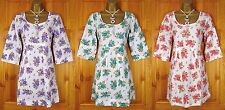 NEW EX WHITE STUFF FLORAL PURPLE GREEN RED COTTON SUMMER SUN TUNIC DRESS UK 8-16