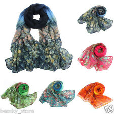 Womens Scarf Flower Voile Scarves Long Soft Neck Wraps Winter Warm Shawl Scarf