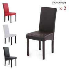 2PCS/SET MODERN FAUX LEATHER DINING CHAIRS HIGH BACK WOOD FRAME PADDED SEAT H5P5