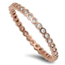 .925 Sterling Silver Stackable Eternity Rose Gold Yellow Gold Promise Ring NEW