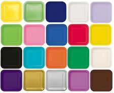 "16 x 7"" SQUARE Paper PLATES (17cm) Plain Solid Colours Birthday Party Tableware"