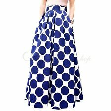 Women Chiffon Polka Dot Print WINTER Skirt Boho High Waist Beach Long Maxi Dress