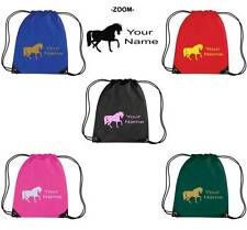 PERSONALISED PRINTED DRAWSTRING GYM/SHOE BAG WITH HORSE DESIGN - school pony HO2