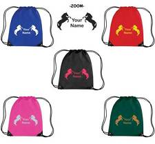 PERSONALISED PRINTED DRAWSTRING GYM/SHOE BAG WITH HORSE DESIGN -school pony HO10