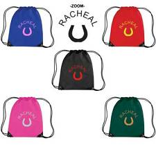 PERSONALISED PRINTED DRAWSTRING GYM/SHOE BAG WITH HORSE DESIGN - school PONY HO1