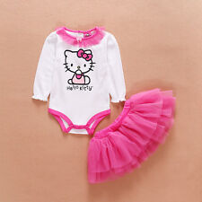 Newborn Baby Girl Clothes Infant Princess HelloKitty Jumpsuit Tutu Baby Romper