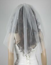 1 layer bride vail short wedding veil sticky beads + comb white and ivory 60cm
