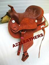"""Western Leather TAN saddle 15"""",16"""" & 17""""( WITH SILVER FITTING)"""