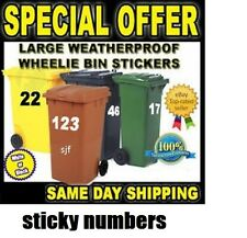 Wheelie Bin Numbers Stickers Self Adhesive Stick On bin numbers,6""