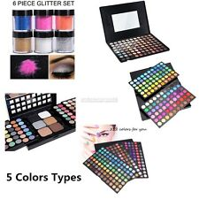 Pro Warm Colors Matte Shimmer Eyeshadow Palette Makeup Kit Set + Brush Mirror