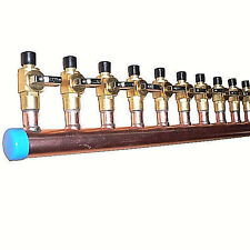 """1"""" Copper Manifold 1/2"""" Pex Crimp Fittings (With And Without Valves) 2-12 Loops"""