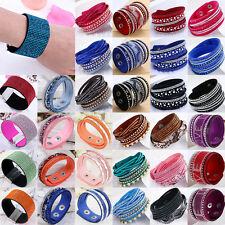NT Fashion Leather Wrap Wristband Cuff Punk Crystal Rhinestone Bracelet Bangle