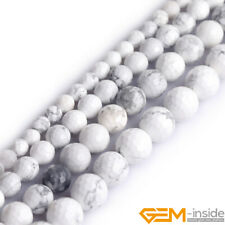 """Natural White Howlite Turquoise Faceted Round Jewelry Making Beads Strand 15"""" YB"""