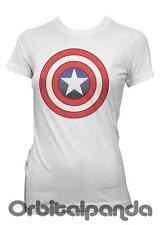Ladies White T-Shirt with Captain America Shield Design - Super Hero