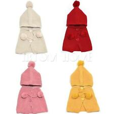 Girl Kid Baby Crochet Hat Cap Hooded Warm Cloak Cape Newborn Hoodie Scarf Shawl
