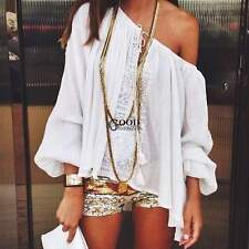 Summer Fashion Women Boho Loose Tops Off Shoulder Sexy T-Shirt Lace Blouse COOL