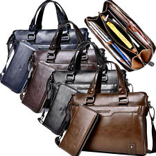 Oil wax cowhide men's briefcase shoulder bussiness Laptop messenger travel bag