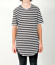 Striped Black and White Tall Tee Longline T-Shirt Curved Hem 100% Cotton