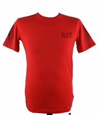 Emporio Armani EA7 Train 7 lines Mens Designer Cotton Stretch T Shirt Tee Red