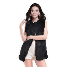 Real Rabbit Fur Vest Gilet Fur Coat Waistcoat Women Winter Jacket Dress