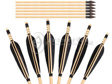 "8PK 28-32"" Handmade Archery Wooden Arrow Parabolic Feathers For Bow Hunting Tips"