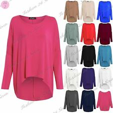 Ladies Oversize Jumper Womens Lagenlook Layering Baggy Off Shoulder High Low Top