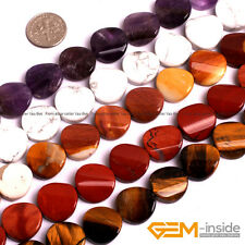 Assorted Natural Stones 16mm Twist Coin Button Beads For Jewelry Making 15""