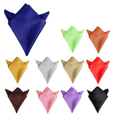New Mens Pocket Square Handkerchief Hanky Plain Solid Color Wedding Formal Party