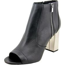 Vince Faber Women  Peep-Toe Leather Black Ankle Boot