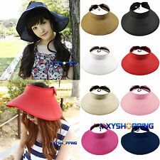 Women's Summer Holiday Wide Brim Roll Up Foldable Sun Beach Straw Visor Hat Cap