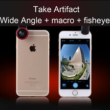 Universal 3 in 1 Clip On Camera Lens Kit Wide Angle Fisheye Macro For Smartphone