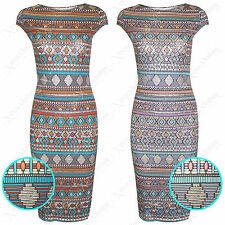 WOMENS LADIES AZTEC GOLD PRINT MIDI DRESS BODYCON DRESSES LONG KNEE PENCIL SKIRT
