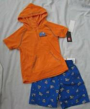 QUIKSILVER boys orange terry cloth cover up swim trunks board shorts set sharks