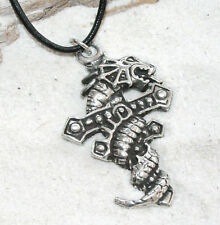 DRAGON CROSS Pewter Pendant Leather Necklace Surfer