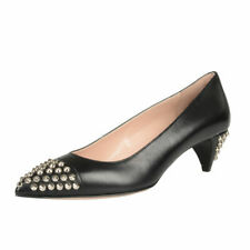 Miu Miu Black Leather Kitten Heel Pointy Toe Pumps Shoes Sz 5.5 8 10