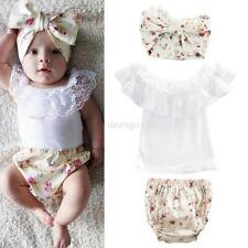 Toddler Kids Baby Girl Clothes Bow Headband Lace T-shirt Tops+Pants Outfits 3Pcs