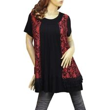 BLACK/RED/ PLEATED LACE LAYER SHORT SLEEVE DRESS/TUNIC TOP #3229 SIZE L XL XXL