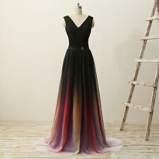 Women's V-neck Evening Dress Long Formal Party Gowns Prom Dresses Lace Up Back