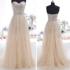 HOT SEXY LADIES STRAPLESS LONG SEQUINS EVENING PROM FORMAL BRIDESMAID GOWN DRESS