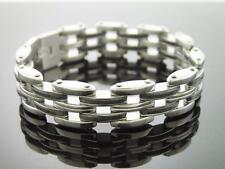 Stainless Steel with Rubber Bracelet 8 Inch Long