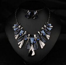 Chunky Women Jewelry Bib Choker Necklace Crystal Pendant 2016 Chain Statement