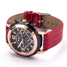 Fashion Women Date Leather Band Stainless Steel Sport Quartz Analog Wrist Watch